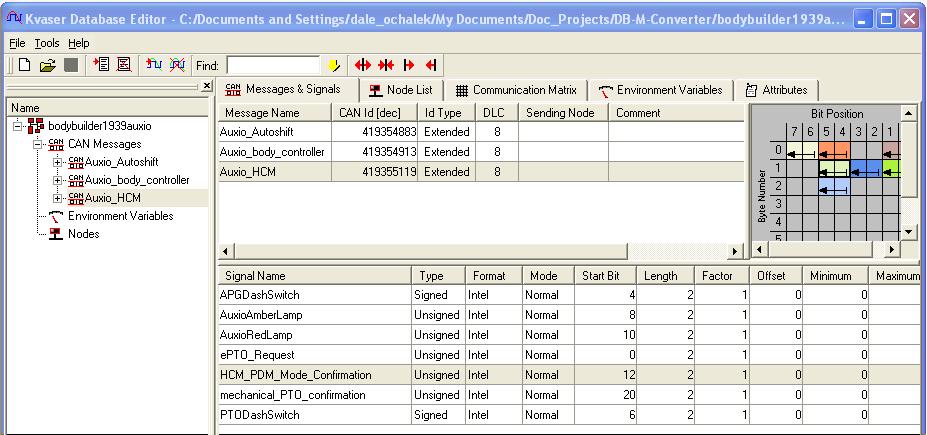 MotoHawk:Vector Database to MotoHawk CAN ( m script